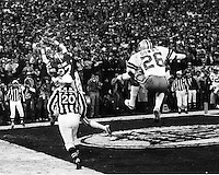 """'THE CATCH"""":San Francisco 49er Dwight Clark makes a leaping catch from Joe Montana to beat the Dallas Cowboys 28-27 in the 1981 NFC Championship game at Candlestick Park. (photo 1981 by Ron Riesterer)"""