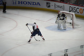 Alex Ovechkin of the Washington Capitals makes a move on Marc-Andre Fleury of the Pittsburg Penguins during the Breakaway Challenge at the RBC Center for the Honda SuperSkills competition, 1/29/2011. Ovechkin won the Breakaway Challenge, which was decided by fan voting.