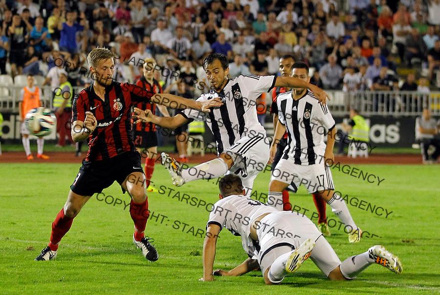 Fudbal Football Soccer<br /> UEFA Champions league-2nd qualifying round<br /> Partizan v HB Torshavn (Faroe Islands)<br /> Danko Lazovic (C) scores the goal<br /> Beograd, 07.15.2014.<br /> foto: Srdjan Stevanovic/Starsportphoto &copy;