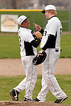 Vale pitcher Shadd Samio and first baseman Brady Sharp between innings during the second game of a doubleheader between Vale and Nyssa on April 15, 2011 at Nyssa High School. Samio struck out eight and gave up four hits in seven innings in the 6-1 Vale win.