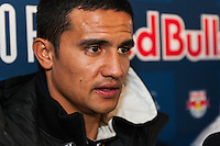 Tim Cahill (17) of the New York Red Bulls is interviewed at Red Bull Arena in Harrison, NJ, on January 24, 2014.