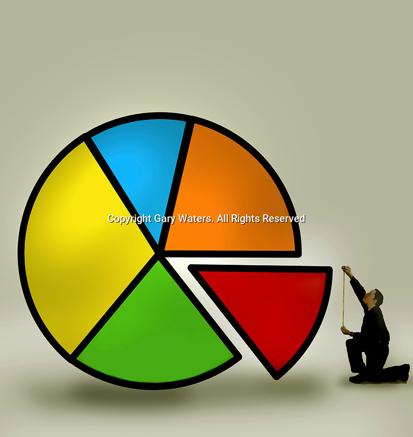Man measuring portion of pie chart