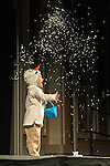 "Paxton Peterson, son of Dr. Brittany Peterson, assistant professor in the School of Communication Studies, throws fake snow during the talent portion of the Ava Nichols Faculty Pageant in Baker Ballroom on Wednesday, February 25. Paxton helped his mother perform ""Let It Go""."