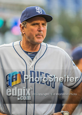 23 July 2016: San Diego Padres third base coach Glenn Hoffman stands in the dugout prior to a game against the Washington Nationals at Nationals Park in Washington, DC. The Nationals defeated the Padres 3-2 to tie their series at one game apiece. Mandatory Credit: Ed Wolfstein Photo *** RAW (NEF) Image File Available ***