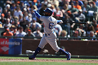 SAN FRANCISCO, CA - APRIL 27:  Andrew Toles #60 of the Los Angeles Dodgers bats against the San Francisco Giants during the game at AT&T Park on Thursday, April 27, 2017 in San Francisco, California. (Photo by Brad Mangin)