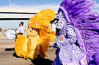 The Golden Comanches Mardi Gras Indians parade on the interstate to the Superdome in New Orleans on February 28, 2006.