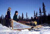 Stock Photo of rookie musher Libby Riddles at her 1980 Iditarod start in Alaska. 5 years later In 1985, Libby Riddles went on to be the first woman to win the 1049 mile long Iditarod Trail Sled Dog Race.