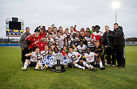 Maryland poses with the ACC Trophy after the ACC Finals at the Maryland SoccerPlex in Boyds, MD.  Maryland defeated Virginia, 1-0, to win the title.