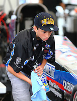 Aug 30, 2014; Clermont, IN, USA; Donovan Dixon , son of NHRA top fuel driver Larry Dixon during qualifying for the US Nationals at Lucas Oil Raceway. Mandatory Credit: Mark J. Rebilas-USA TODAY Sports