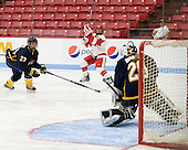 Lindsay Hoogstraten (Windsor - 23), Kasey Boucher (BU - 3), Kasey Martin (Windsor - 20) - The Boston University Terriers defeated the visiting University of Windsor Lancers 4-1 in a Saturday afternoon, September 25, 2010, exhibition game at Walter Brown Arena in Boston, MA.