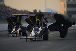 May 18, 2012; Topeka, KS, USA: NHRA top alcohol dragster driver James Thompson during qualifying for the Summer Nationals at Heartland Park Topeka. Mandatory Credit: Mark J. Rebilas-
