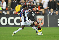 Chris Pontius of D.C. United goes against Real Salt Lake Abdoulie Mansally. D.C. United defeated Real Salt Lake 1-0 in their home opener, at RFK Stadium, Saturday March 9,2013.