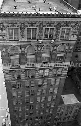 Window washers at work on Atlanta building, Atlanta, Georgia, 1952. Credit: John G. Zimmerman Archive