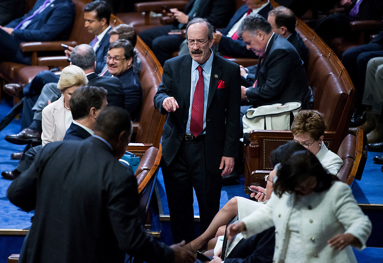 UNITED STATES - FEBRUARY 28: Rep. Eliot Engel, D-N.Y., looks for a seat for President Donald Trump's address to a joint session of Congress on Tuesday, Feb. 28, 2017. (Photo By Bill Clark/CQ Roll Call)