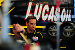 May 6, 2012; Commerce, GA, USA: NHRA Aaron Brooks, crew chief of top fuel dragster driver Morgan Lucas during the Southern Nationals at Atlanta Dragway. Mandatory Credit: Mark J. Rebilas-