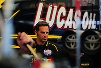 May 6, 2012; Commerce, GA, USA: NHRA Aaron Brooks, crew chief of top fuel dragster driver Morgan Lucas during the Southern Nationals at Atlanta Dragway. Mandatory Credit: Mark J. Rebilas-
