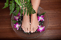 Female feet being washed in a bowl with pebble and flowers **model release available**