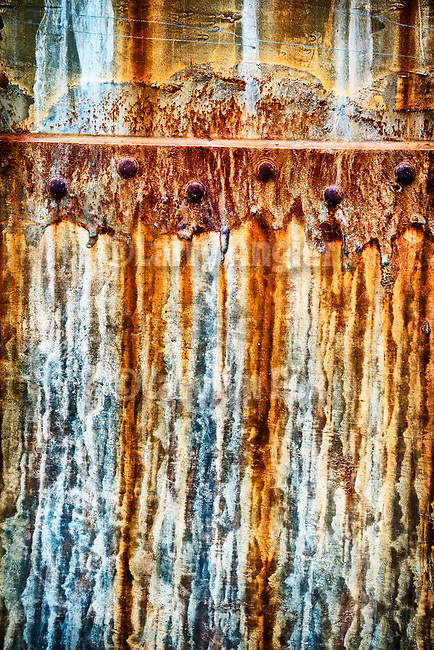 Detail and rust, abandoned grain storage tanks, R C Ranch, Panorama Hills, Carrizo Plain National Monument, San Luis Obispo County, Calif.