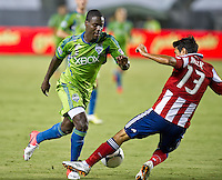 CARSON, CA - August 25, 2012: Seattle forward Eddie Johnson (7) during the Chivas USA vs Seattle Sounders match at the Home Depot Center in Carson, California. Final score, Chivas USA 2, Seattle Sounders 6.
