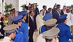 Saudi Arabia's King Salman bin Abdulaziz al-Saud receiving Egyptian President Abdel Fattah al-Sisi, upon the latter's arrival in the capital Riyadh on 23 April 2017. Photo by Egyptian President Office