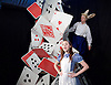 Southbank Centre's Imagine Children's Festival <br /> at the Royal Festival Hall, Southbank, London, Great Britain <br /> 13th February 2015 <br /> <br /> <br /> Children watch Alice's House of Cards <br /> with Evelyn Hoskins and Alice<br /> and Ben Ingles as Knave of Hearts <br /> <br /> <br /> Photograph by Elliott Franks <br /> Image licensed to Elliott Franks Photography Services