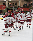 Greg Gozzo (Harvard - 13), Kevin Guiltinan (Harvard - 6), David Valek (Harvard - 23), Desmond Bergin (Harvard - 37) - The Harvard University Crimson defeated the Princeton University Tigers 3-2 on Friday, January 31, 2014, at the Bright-Landry Hockey Center in Cambridge, Massachusetts.
