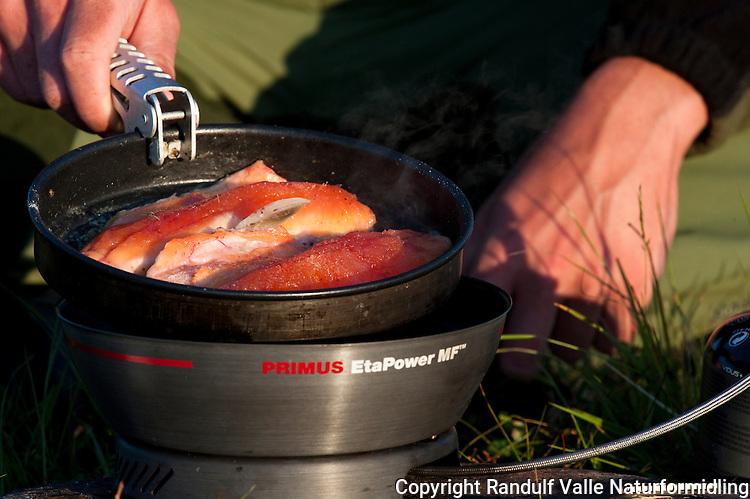 Laksefileter i stekepanne på primus. ---- Salmon in frying pan.