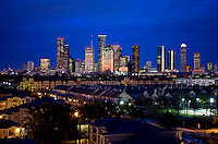 Stock photo of the Houston skyline at dusk from west