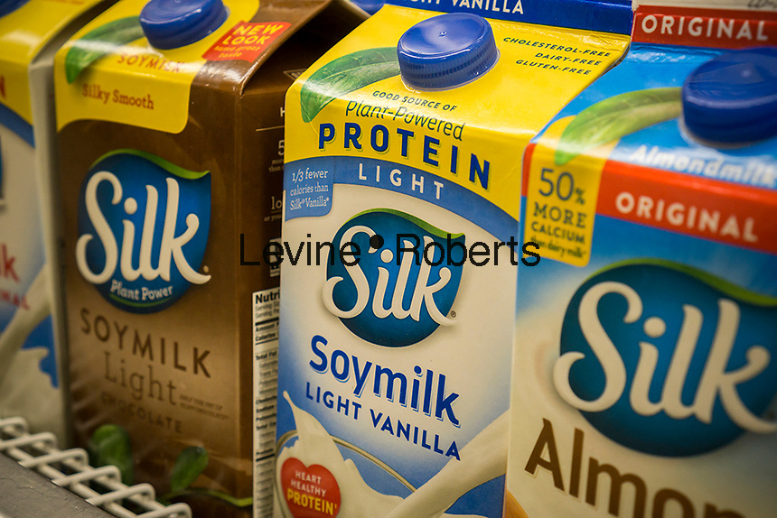 Containers of  Dean Foods' Silk brand soy milk are seen in a supermarket in New York on Thursday, February 23, 2017.  (© Richard B. Levine)