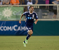 Austin Da Luz (6) of the Carolina Railhawks celebrates his goal during a third round match in the US Open Cup at WakeMed Soccer Park in Cary, NC.  The Carolina Railhawks defeated the LA Galaxy, 2-0.