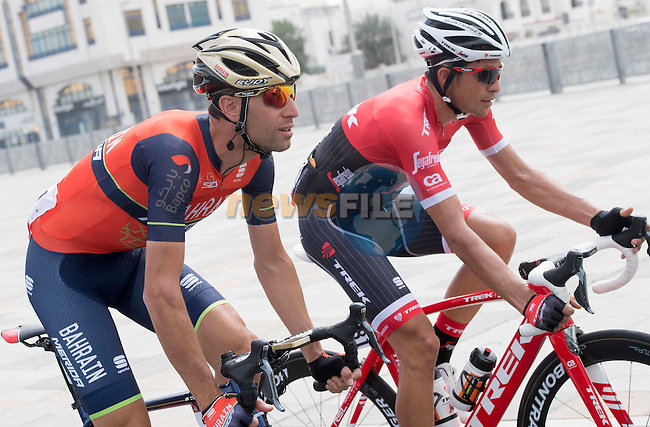 Vincenzo Nibali (ITA) Bahrain-Merida Alberto and Contador (ESP) Trek-Segafredo in action during Stage 2 the Nation Towers Stage of the 2017 Abu Dhabi Tour, running 153km around the city of Abu Dhabi, Abu Dhabi. 24th February 2017<br /> Picture: ANSA/Claudio Peri | Newsfile<br /> <br /> <br /> All photos usage must carry mandatory copyright credit (&copy; Newsfile | ANSA)
