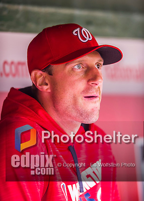 28 April 2016: Washington Nationals pitcher Max Scherzer watches play from the dugout during a game against the Philadelphia Phillies at Nationals Park in Washington, DC. The Phillies shut out the Nationals 3-0 to sweep their mid-week, 3-game series. Mandatory Credit: Ed Wolfstein Photo *** RAW (NEF) Image File Available ***