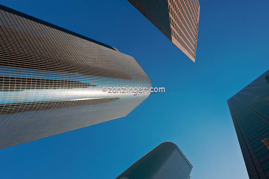 Architectural, Skyscrapers, looking up, Downtown, Tall, corporate, office buildings, Bunker Hill, Financial District, Los Angeles CA,