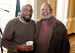 WATERBURY, CT-021517JS06---Vernon Riddick Sr.,left, and J. J. Jackson, right, at the African American Mayor for the Day celebration at Waterbury City Hall. <br /> Jim Shannon Republican-American