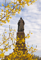 A statue of 17th-century French Jesuit explorer Father Jacques Marquette is seen in Marquette, Michigan.