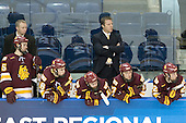 Jake Hendrickson (Duluth - 15), Derek Plante (Duluth - Assistant Coach), Joe Basaraba (Duluth - 18), Jack Connolly (Duluth - 12), Scott Sandelin (Duluth - Head Coach), Mike Seidel (Duluth - 17), Mike Connolly (Duluth - 22)  - The University of Minnesota-Duluth Bulldogs defeated the Union College Dutchmen 2-0 in their NCAA East Regional Semi-Final on Friday, March 25, 2011, at Webster Bank Arena at Harbor Yard in Bridgeport, Connecticut.
