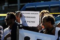 """Roma 2 Settembre 2010.Manifestazione di protesta  organizzata dai Verdi davanti all'ambasciata iraniana a Roma per chiedere al regime di Teheran di """"salvare la vita a Sakineh Mohammadi Ashtiani"""",condannata a morte per un supposto adulterio..Rome September 2, 2010.Protest organized by the Greens before the Iranian embassy in Rome to ask the Tehran regime to """"save the lives Sakineh Mohammadi Ashtiani, sentenced to death for an alleged adultery."""