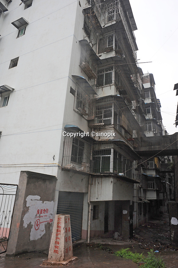 Blocks of flats condemned for destruction at Fengie on the Three Gorges Dam.  Several of the new cities are suffering from structural damage due to land and earth movements caused by the 400 kmThree Gorges reservoir.<br />