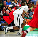 17 January 2010: University of Vermont Catamount guard Garvey Young, a Sophomore from Washington, DC, in action against the Boston University Terriers at Patrick Gymnasium in Burlington, Vermont. The Catamounts, holding the lead for the entire game, defeated the Terriers 78-58. Mandatory Credit: Ed Wolfstein Photo