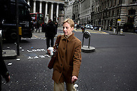 Dalia Stanton, a manager at Starbucks in the City of London. The UK went into recession in the final quarter of 2008 as the City was hit hard by the global credit crunch.