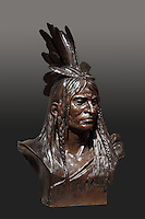 Indian chief, bronze bust, 1885, by Theodore Baur, 1835- after 1902, from the collection of the Denver Art Museum, Denver, Colorado, USA. The chief wears a feather headdress and braids in his hair. Picture by Manuel Cohen