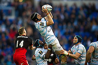 Luke Charteris of Racing 92 claims the ball in the air. European Rugby Champions Cup Final, between Saracens and Racing 92 on May 14, 2016 at the Grand Stade de Lyon in Lyon, France. Photo by: Patrick Khachfe / Onside Images