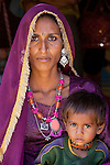 Portrait of a mother and child, Pushkar, India