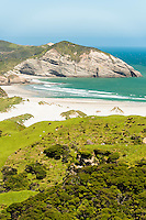 Wharariki Beach with white sand dunes near Collingwood, Nelson Region, South Island, New Zealand
