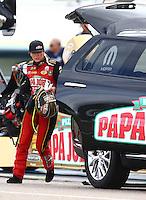 Aug 20, 2016; Brainerd, MN, USA; NHRA top fuel driver Leah Pritchett during qualifying for the Lucas Oil Nationals at Brainerd International Raceway. Mandatory Credit: Mark J. Rebilas-USA TODAY Sports