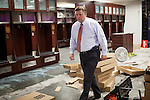 FRESNO, CA - AUGUST 11, 2014:   Fresno State's athletic director Thomas Boeh walks through the football locker room as it's being remodeled for the season. CREDIT: Max Whittaker for The New York Times