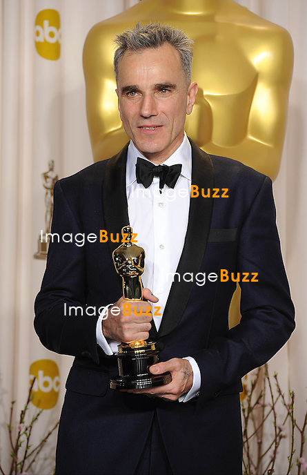 Daniel Day-Lewis with his Oscar for Best Actor in a leading role for Lincoln at the 85th Academy Awards at the Dolby Theatre, Los Angeles.