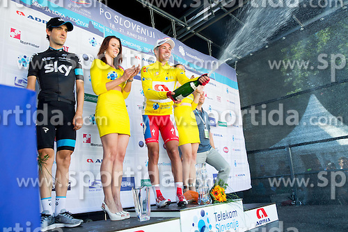 Second placed in overall classification NIEVE ITURALDE Mikel (Spain) of Team Sky and winner +163  celebrate during trophy ceremony after the Stage 4 of 22nd Tour of Slovenia 2015 from Rogaska Slatina to Novo mesto (165,5 km) cycling race  on June 21, 2015 in Slovenia. Photo by Vid Ponikvar / Sportida