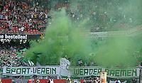 Fussball 1. Bundesliga   Saison  2012/2013   34. Spieltag   1. FC Nuernberg - SV Werder Bremen       18.05.2013 Gaestefanblock im Nuernberger Stadion, SV Werder Bremen Fans mit Pyros