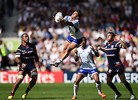 Tim Nanai-Williams of Samoa claims the ball in the air. Rugby World Cup Pool B match between Samoa and the USA on September 20, 2015 at the Brighton Community Stadium in Brighton, England. Photo by: Patrick Khachfe / Onside Images